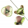 Bell Flower 14x16mm Green Brown Two-tone